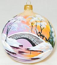 Large Unique Handmade Christmas Bauble glass ornament WINTER SCENERY - ecru, 4.7 in (12 cm)