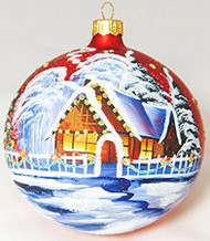 Large Unique Handmade Christmas Bauble glass ornament WINTER SCENERY - red, 4.7 in (12 cm)