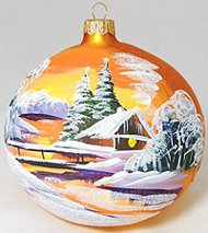 Large Unique Handmade Christmas Ball glass ornament WINTER SCENERY - gold, 4.7 in (12 cm)