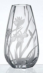 Large Thick Hand Blown Glass Vase with Sandblasted Flower Decoration, 11.8 in