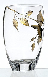 Elegant Hand Blown Clear Glass Vase with Golden Painted Leaves, 11.8 in