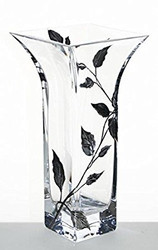 Elegant Hand Blown Clear Glass Vase with Painted Silver Leaves, 8.8 in