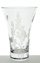 Hand Blown Glass Vase with Sandblasted Flower Decoration, 7.5 in