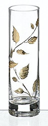 Elegant Hand Blown Clear Glass Vase with Golden Painted Leaves, 7.7 in