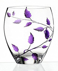 Elegant Hand Blown Clear Glass Vase with Purple Painted Leaves, 8.3 in