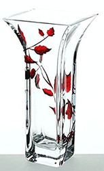 Elegant Hand Blown Clear Glass Vase with Deep Red Painted Leaves, 8.8 in