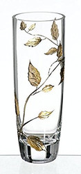 Elegant Hand Blown Clear Glass Vase with Golden Painted Leaves, 9.8 in