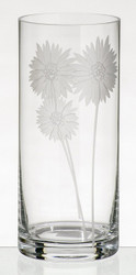 Hand Blown Glass Vase with Sandblasted Flowers, 11 in