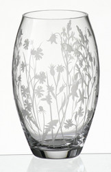 Hand Blown Glass Vase with Sandblasted Meadow Flowers, 9.5 in
