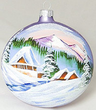 Large Unique Handmade Christmas Bauble painted glass ornament MOUNTAIN HUTS - light violet, diameter 12 cm