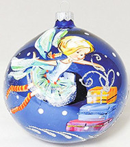 Large Unique Handmade Christmas Bauble glass ornament FAIRY WITH GIFTS - sapphire, diameter 12 cm
