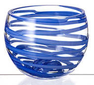 Elegant Painted Hand Made Glass Bowl, Blue