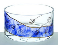 Elegant Painted Hand Made Glass Bowl, Blue and Golden