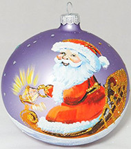 Large Unique Handmade Christmas Bauble glass ornament SANTA & SLEIGH - light violet, diameter 12 cm