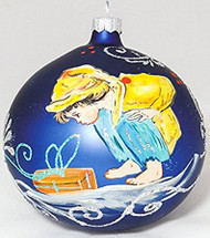 Large Unique Handmade Christmas Bauble glass ornament BOY & GIFT - sapphire, diameter 12 cm