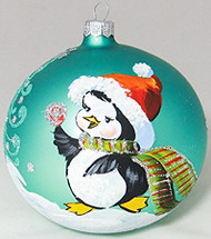 Large Unique Handmade Christmas Bauble glass ornament CHRISTMAS PENGUIN - turquoise, diameter 12 cm