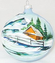 Large Unique Handmade Christmas Bauble glass ornament WINTER SCENERY - blue, diameter 12 cm