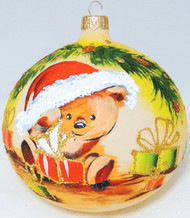 Large Unique Handmade Christmas Bauble painted glass ornament TEDDY BEAR WITH GIFTS - ecru, diameter 12 cm