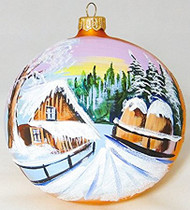 Large Unique Handmade Christmas Bauble glass ornament WINTER SCENERY - gold, diameter 12 cm