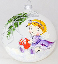 Large Unique Handmade Christmas Bauble painted glass ornament ANGEL WITH BAUBLE - white, diameter 12 cm