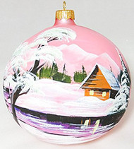 Large Unique Handmade Christmas Bauble glass ornament WINTER SCENERY - pink, diameter 12 cm