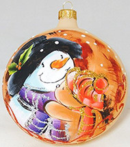 Large Unique Handmade Christmas Bauble painted glass ornament SNOWMAN - ecru, diameter 12 cm