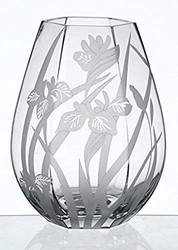 Elegant Thick Hand Blown Glass Vase with Sandblasted Flower Decor, 25 cm