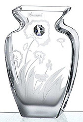 19 cm Hand Blown Glass Vase with Swarovski Crystal and Meadow Decoration