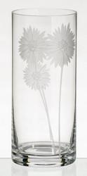 Elegant Hand Blown Glass Vase with Sandblasted Flowers, 28 cm