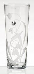 Large Elegant Hand Blown Glass Vase with Swarovski Crystal, 32 cm