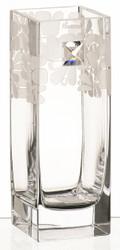 Elegant Hand Blown Glass Vase with Swarovski Crystal, 25 cm