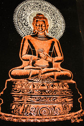 Gautama Buddha Drawing on Velvet in Burnt Gold