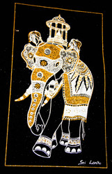 The King Elephant with the Casket of Sacred Tooth Relic - Velvet Art in Gold & Silver