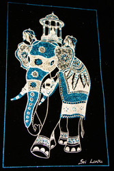 The King Elephant with the caskate of Sacred Tooth Relic - Velvet Art in Royal & Silver