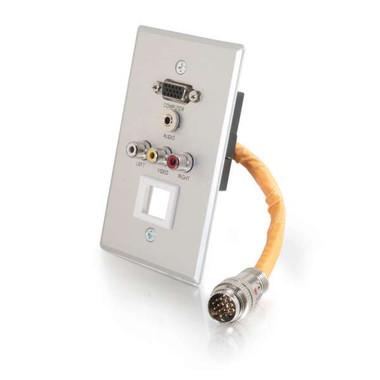 RapidRun® Single Gang VGA (HD15) + 3.5mm + Composite Video + Stereo Audio + Keystone Wall Plate - Brushed Aluminum