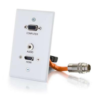 RapidRun VGA + 3.5mm Single Gang Wall Plate + HDMI Pass Through - White