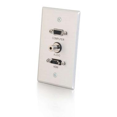 HDMI, VGA and 3.5mm Audio Pass Through Single Gang Wall Plate - Brushed Aluminum (41034)