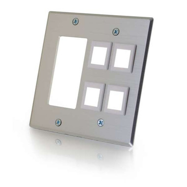 Decora with Four Keystone Double Gang Wall Plate - Aluminum (41340)