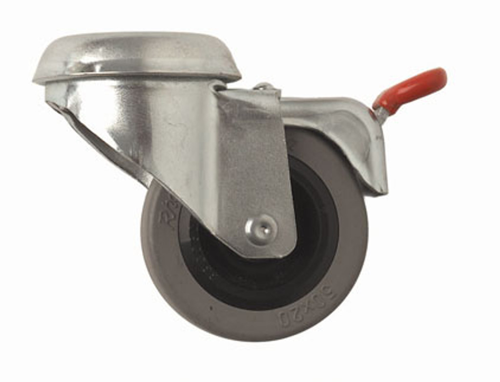 Locking casters designed to smoothly roll over carpet, concrete, and all floor surfaces.