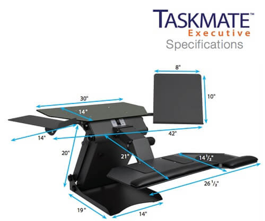 HealthPostures TaskMate Executive 6100 dimensions