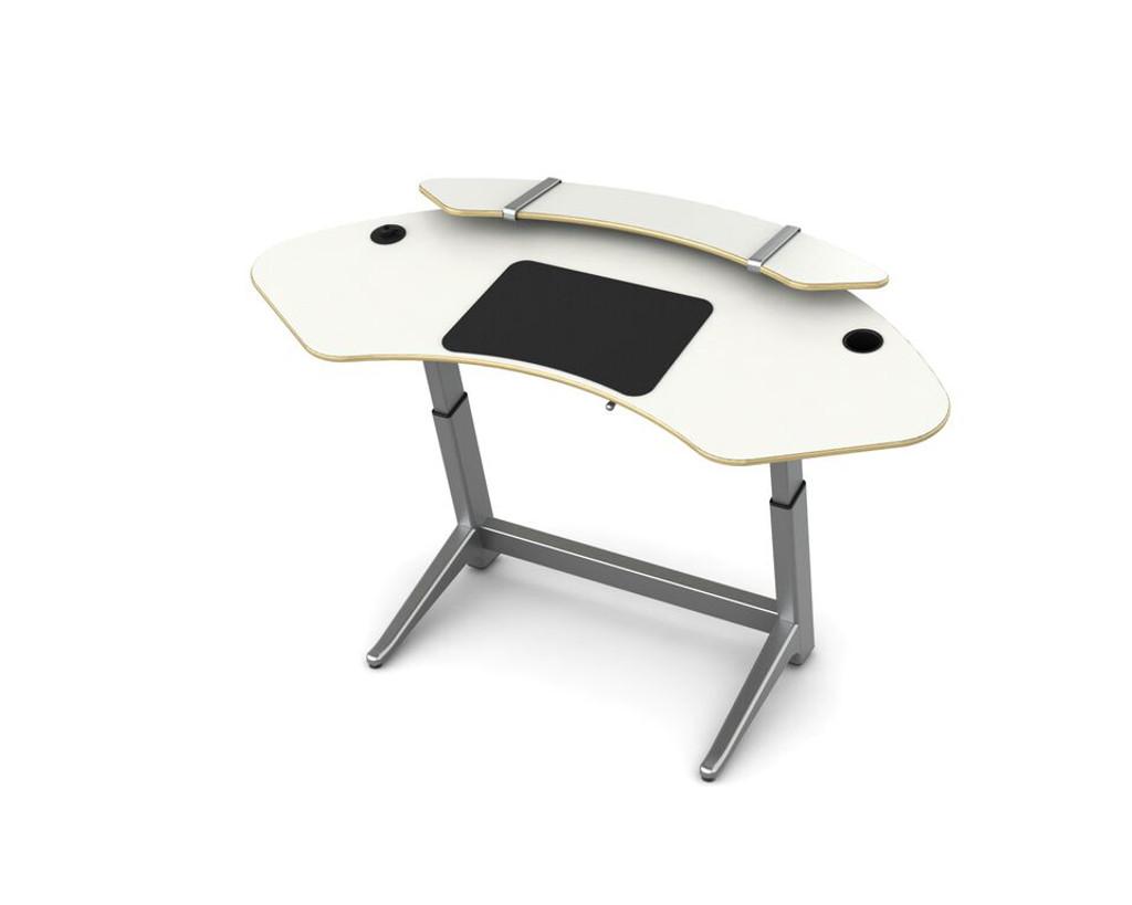 Sphere desk in glacier white with optional sphere shelf