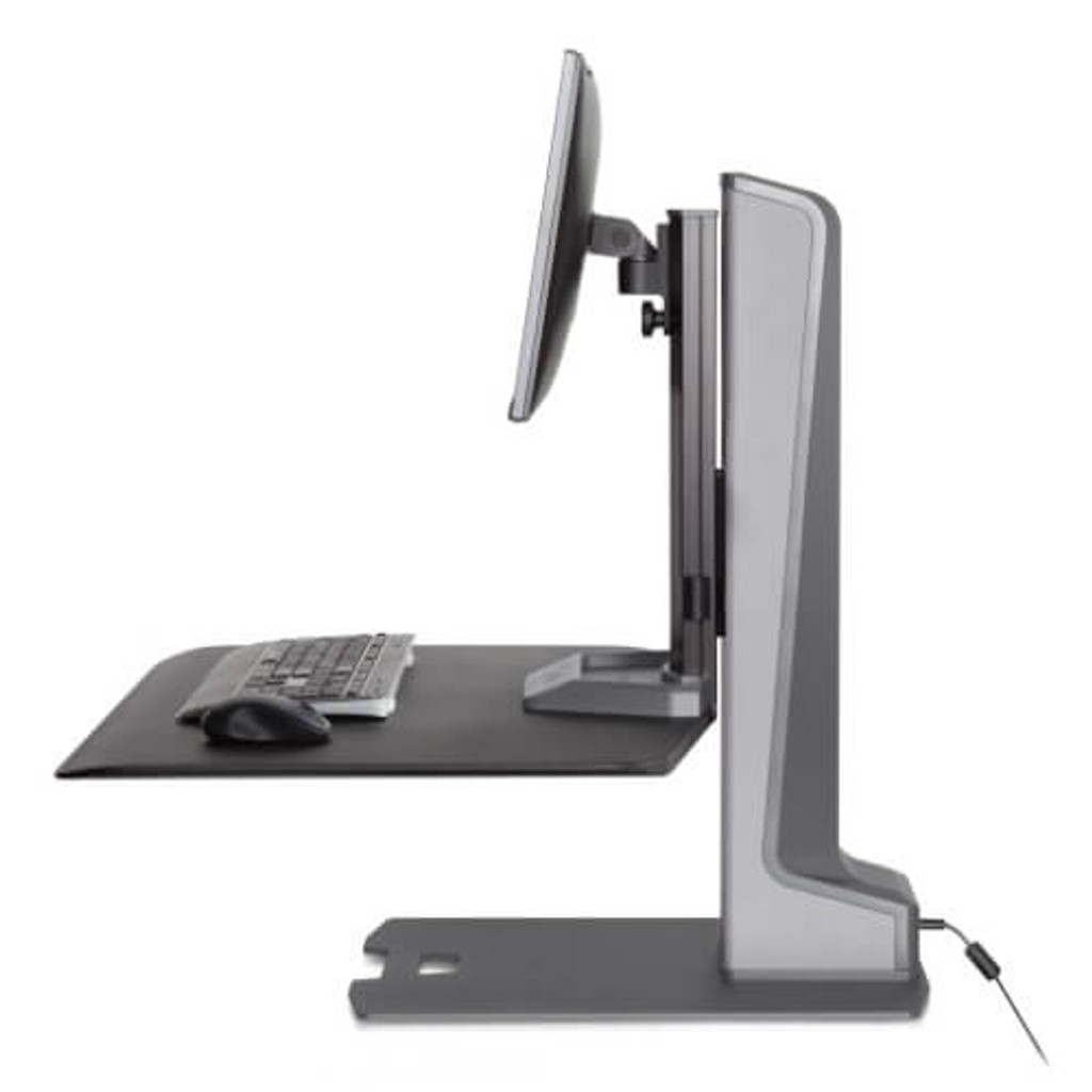 Winston-E Sit-Stand Workstation Single Monitor Mount Side view