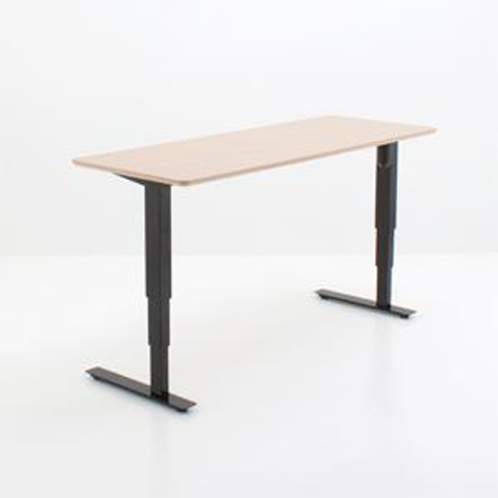 501-37 Electric Height Adjustable 2-Leg Desk Black with Maple Top