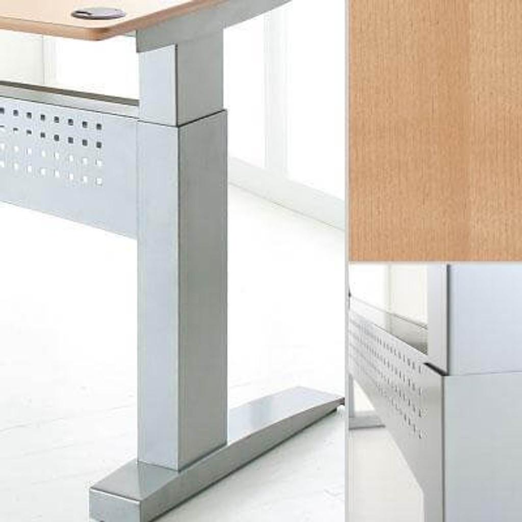 501-11 Electric Height Adjustable 2-Leg Silver Frame Beech Top