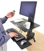 WorkFit-S, Single HD Sit-Stand Workstation In Use