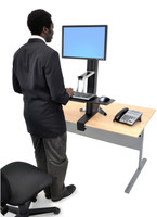 WorkFit-S, Single HD Sit-Stand Workstation In Use Standing