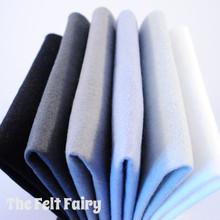 "Monochromes 9x4.5"" 6 Shades / 12 Sheets - Wool Blend Felt"