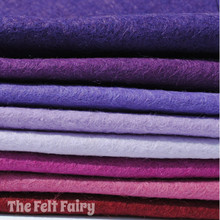 "Purple Haze 6"", 9"" or 12"" Squares 10 Shades - Wool Blend Felt"