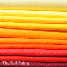 "Flames 6"", 9"" or 12"" Squares 10 Shades - Wool Blend Felt"