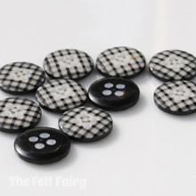 Black Gingham Buttons - 12mm - 10 Buttons